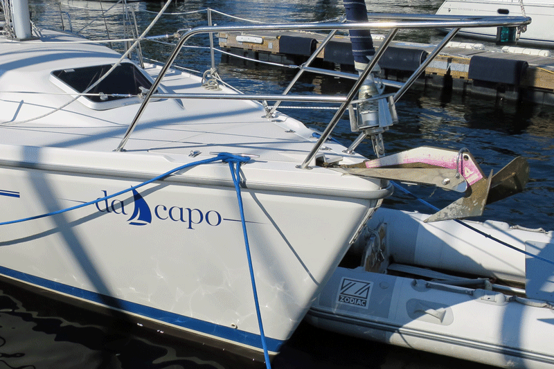 Da Capo's bow/hull photographed during visit on August 24, 2014