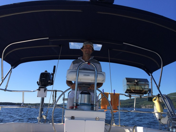 """Sailing Errant """"home"""" to Essex from Willsboro after purchase. (Sept. 7, 2014)"""