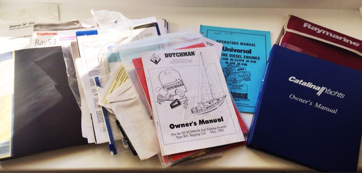 Catalina 310 Manuals for Errant (plus every other gadget onboard.) But this stash is missing a ship's log!