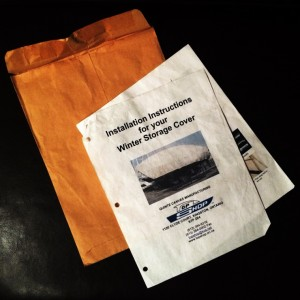 Winter Storage Cover Installation Instructions