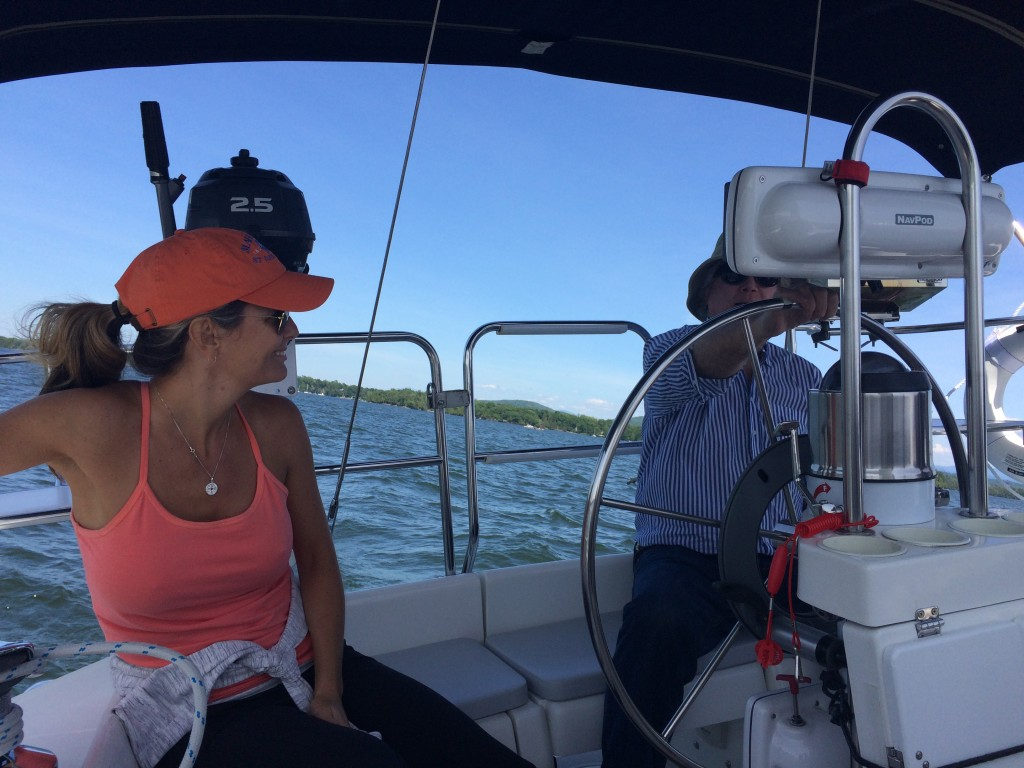 My sister and my father sailing Errant, June 2015.