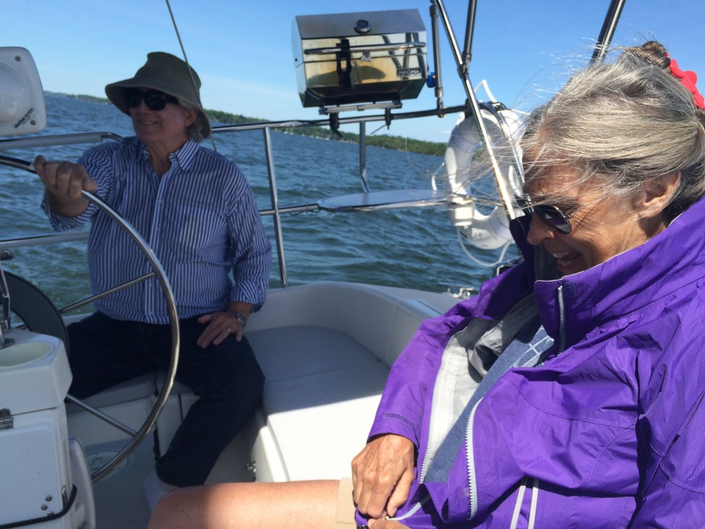 My mother and father sailing Errant, June 2015.