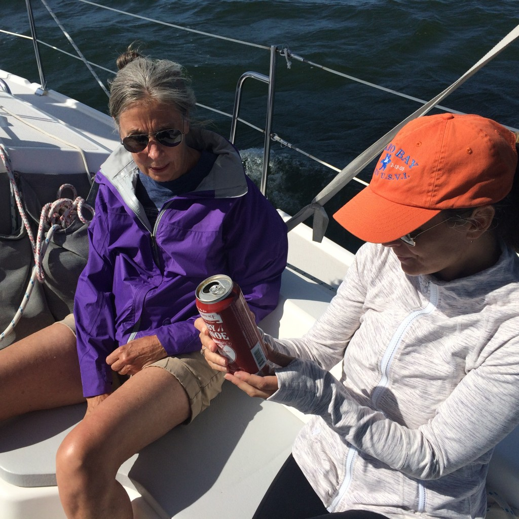 My mother and sister aboard Errant, June 2015.