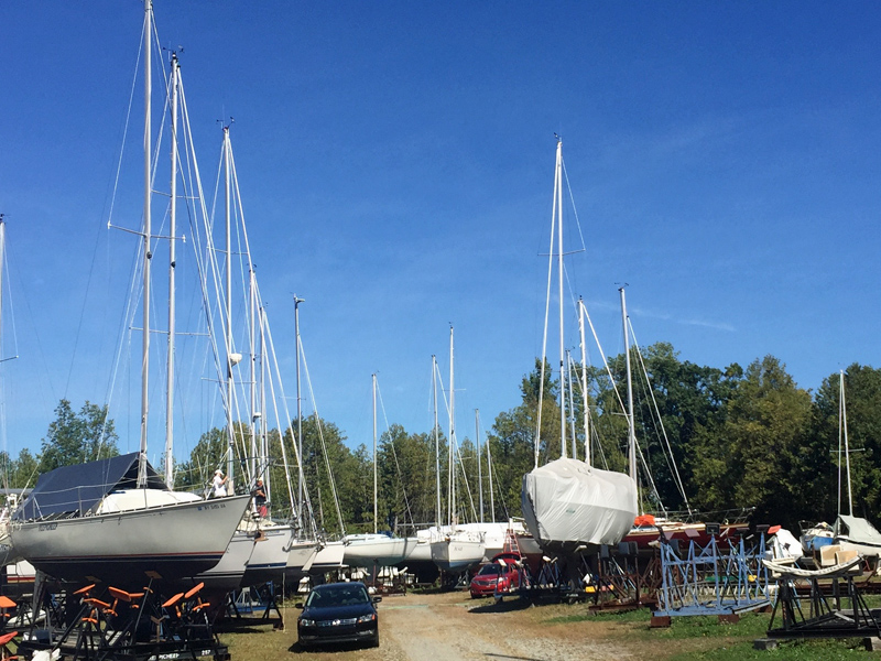 Winterization 2016: Errant (near right) is on the hard again at Willsboro Bay Marina until next spring.