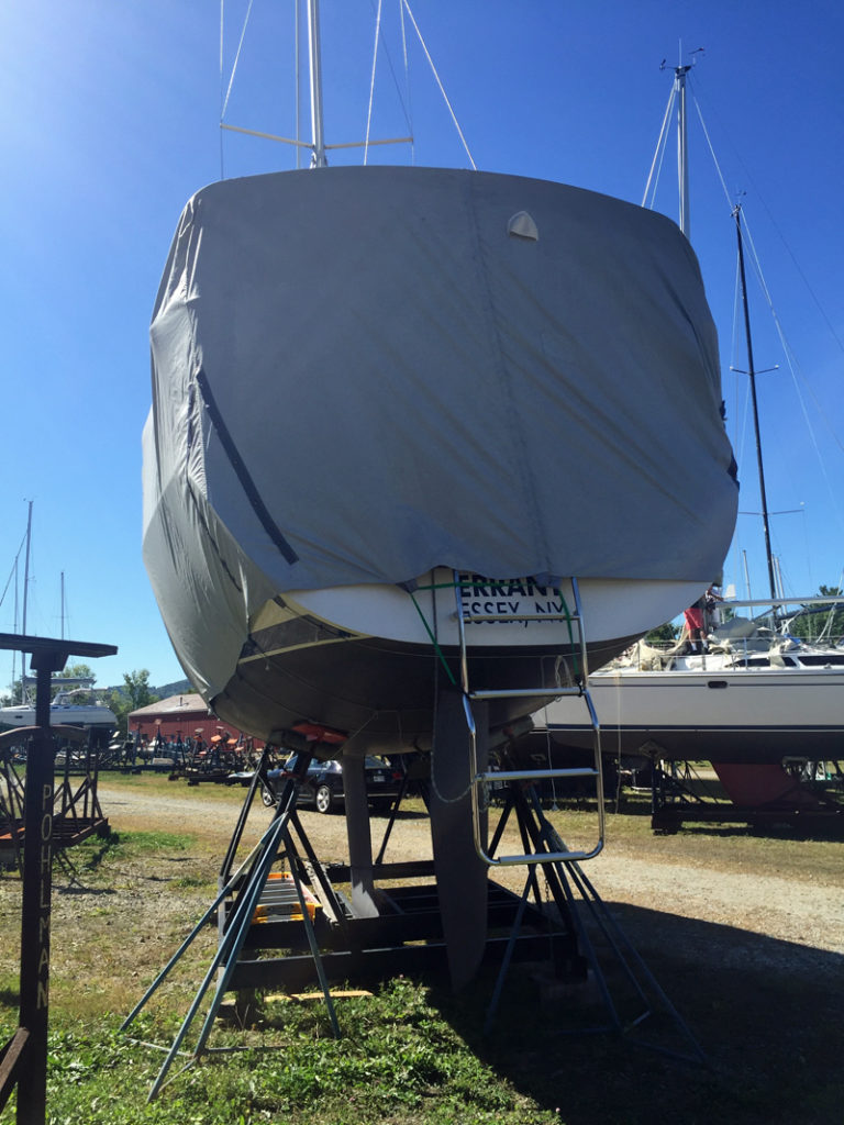 Winterization 2016: Errant (stern view, winter storage cover) is on the hard again at Willsboro Bay Marina until next spring.