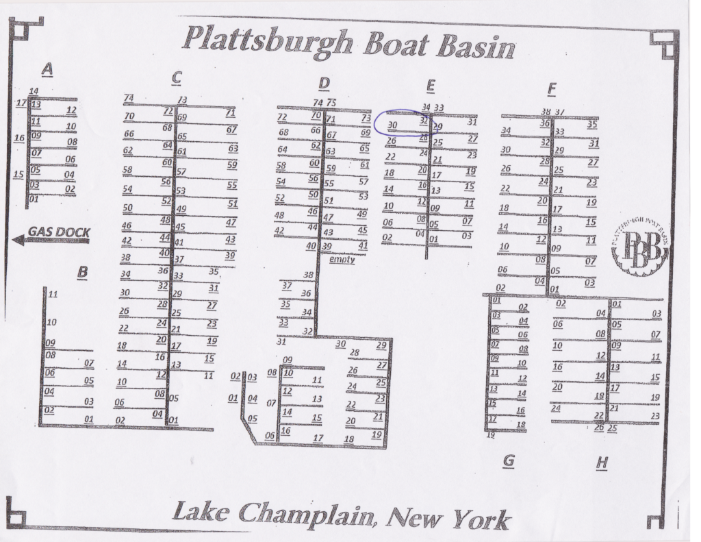 Plattsburgh Boat Basin Dock Plan (Source: Plattsburgh Boat Basin, July 2018)