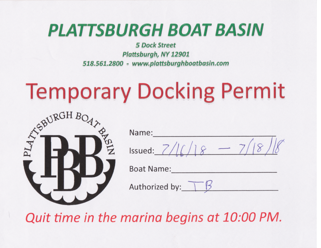 Plattsburgh Boat Basin Temporary Docking Permit (Source: Plattsburgh Boat Basin, July 2018)